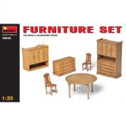 1:35 Furniture Set Model Kit - Miniart Plastic Miniature Table Chair House Home