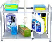 SimpleHouseware Under Sink 2 Tier Expandable Shelf Organiser Rack, Silver
