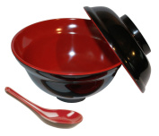 Happy Sales Set of Rice Miso Soup Bowl with Lid and Spoon Black & Red Colour 470ml