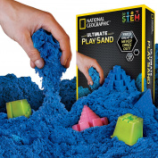 National Geographic Play Sand - 900 Grammes of Sand with Castle Moulds and Tray (Blue)- A Kinetic Sensory Activity