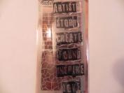 Tim Holtz ~ Inspirational ~ Stamps & Stencil Set ~ Artist, Create, Love, Brick