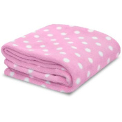 Little Starter Pink & White Polka Dot Soft Plush Baby Blanket, New, Free Shippin