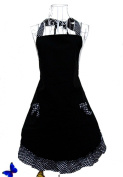 Cute Polka Dot Black Flirty Cake Aprons W/ Pockets For Women Gils Vintage Aprons