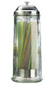 Palais Glassware Glass Straw Dispenser With Chrome Base Ver 28cm High, New