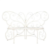 White Butterfly Iron Bench