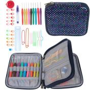 Teamoy Ergonomic Crochet Hooks Set, Knitting Needle Kit, Zipper Organiser Case W