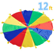 Parachute 3.7m For Kids Parachute With 12 Handles For 8 12 Kids Tent Play