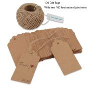Shintop 100pcs Kraft Paper Tags Bonbonniere Favour Rectangular T... New