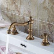 Ollypulse Double Cross Handles High Arc Widespread Bathroom Sink Faucet Antique