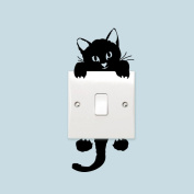 Black Cute Cat Light Switch Vinyl Sticker Wall Decal Home Decoration Removable