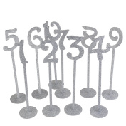 Rosenice Wedding Table Numbers Holders Thicken Wood With Glitter, Silver