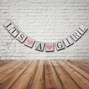 Its A Girl Bunting Banner Rustic Christening Baby Shower Garland Decoration