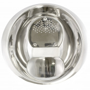 Stainless Steel Rice & Fruit Washing Bowl With Side Drainer, Integrated Colander