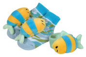 Stephan Baby Go Fish Wrist Rattle And Rattle Socks Set, Blue Fish
