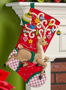 Ornamental Deer Stocking Felt Applique Kit 46cm Long 046109866529