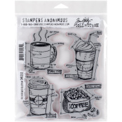 Stampers Anonymous Tim Holtz Cling Rubber Fresh Brewed Blueprint Stamp Set, 18cm x 22cm