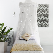Boho & Beach Bed Canopy Mosquito Net Curtains With Feathers And Stars For Gir...