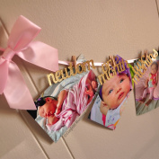 Confetti Momma 1st Birthday Girl Decorations - 12 Month Photo Banner - Monthly