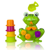 Zig Zag Kid Toddler Bath Tub Toy Green Frog With 4 Stacking Cups (froggy's) Xts