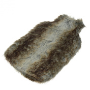 Harbour Housewares Full Size Hot Water Bottle With Faux Fur Cover - Light Grey Fur