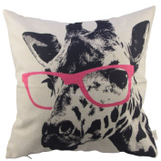 Hosl Animal Style Giraffe Pink Glasses Sofa Simple Home Decor Design Throw Case