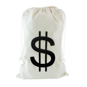 Large Canvas Natural Money Bag Pouch With Drawstring Closure And Dollar Sign