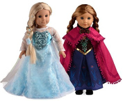 Sweet Dolly Elsa And Anna Princess Costumes For 46cm American Girl Doll
