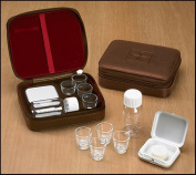 Cross Detail Faux Leather Lined Box 4 Cup Portable Minister Travel Communion