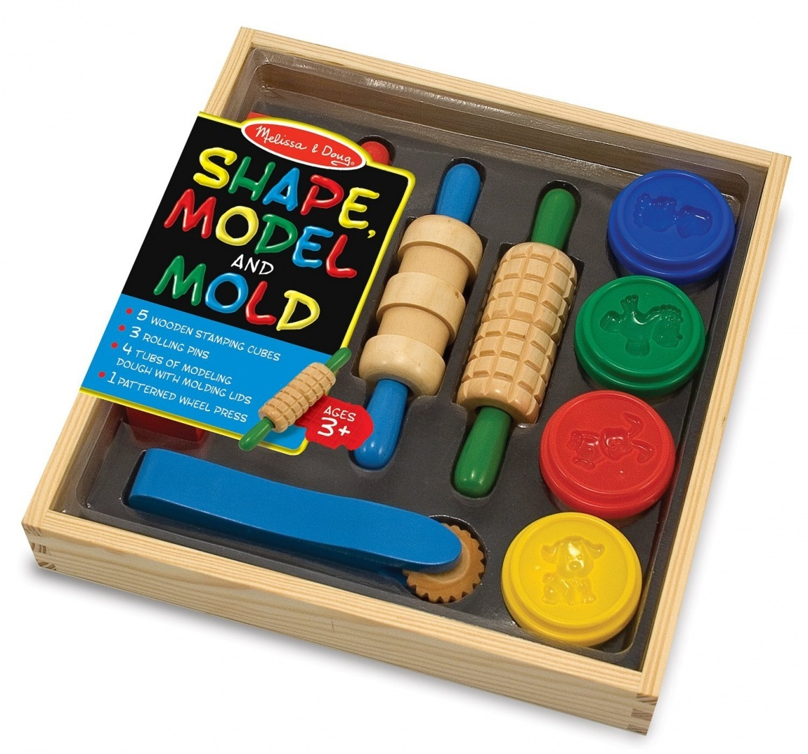 Melissa & Doug Shape, Model, and Mould Clay Activity Set - 4 Tubs of  Modelling Dough and Tools