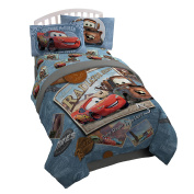 Disney/Pixar Cars Tune Up Blue/Grey Twin/Full Reversible Comforter with Plush Reverse Featuring Lightning McQueen & Mater