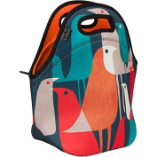 Neoprene Lunch Bag by ART OF LUNCH - Large [30cm x 30cm x 17cm ] Gourmet Insulating Lunch Tote - A Partnership with Artists Around the World - Design by Budi Kwan (Indonesia) - Flock of Birds