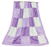 The Peanut Shell Zoe Purple Minky Dot Patchwork Blanket