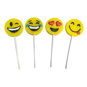 Yellow Emoji Smile Face Lollipop Sucker 1 Dozen