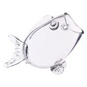 CYS® Clear Thick Glass Fish Shaped Bowl, 19cm -high Fish Bowl Aquarium, Candy Dish Centrepiece