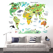 World map wall decal baby buy online from fishpond eveshine animal world map peel stick nursery wall decals stickers gumiabroncs Image collections
