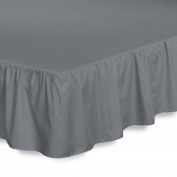 Bed Ruffle Skirt (Full, Grey) Brushed Microfiber Bed Wrap with Platform - Easy Fit Gathered Style 3 Sided Coverage by Utopia Bedding