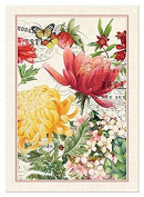 Michel Design Works Morning Blossoms Dish Towel, Natural Woven Cotton