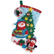 Bucilla 46cm Christmas Stocking Felt Applique Kit, 86659 Trimming The Tree