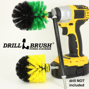 Drill Powered Tub, Tile, Grout, And Bath 2 Brush Combo With Long Reach Extension