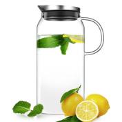 Ecooe Borosilicate Glass Water Pitcher With Lid Handle, 1300ml X 2