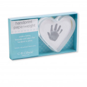 C.R. Gibson Heart shape glass handprint paperweight BHPP-11554