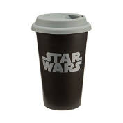 Star Wars Double Wall Ceramic Travel Mug With Silicone Lid 350ml Black