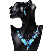 Necklace Earrings Set,Clode®1Set Elegant Women Clothing Decoration Mother's Day Gift Vintage Butterfly Necklace Statement Earrings Jewellery Set Suit for Wedding Birthday Party