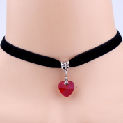 LUFA Women Velvet Choker Necklace Handmade Heart Crystal Pendant Short Necklace