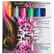 Hair Chalk - Metallic Glitter Temporary Hair Colour - Edge Chalkers - No Mess - Built in Sealant - Works on All Hair Colours - Colour Essentials Set (6 Count) By SySrion