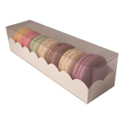 Macaroon box with clear sleeve - large