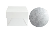"12"" CAKE BOARD DRUM silver 12 mm thick WITH WHITE strong BOX"