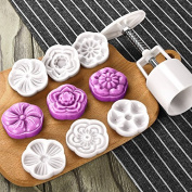 Moon Cake Mould with 6 Stamps - Mid Autumn Festival DIY Decoration Press 50g, Cookie Stamps, Cake Cutter Mould, Cookie Press