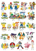 Pokemon 1 SET CAKE PARTY STANDS UP TOPPERS EDIBLE WAFER CARD x32 PIECES