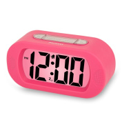 Plumeet Digital Large LCD Easy Setting Travel Alarm Clock with Snooze Good Backlight